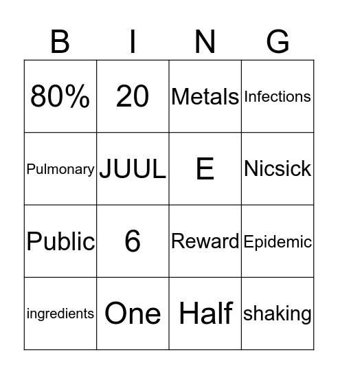 Risks of Vaping Bingo Card