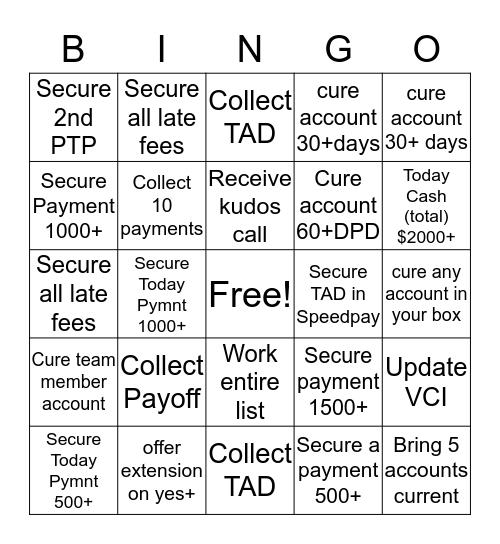 Early Stage Bingo Game Bingo Card