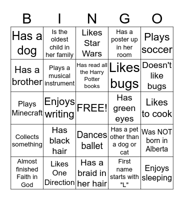 Get To Know You!! Bingo Card