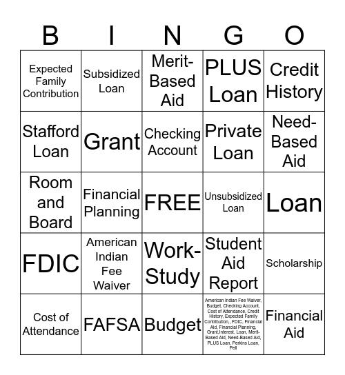 FAFSA Bingo Card