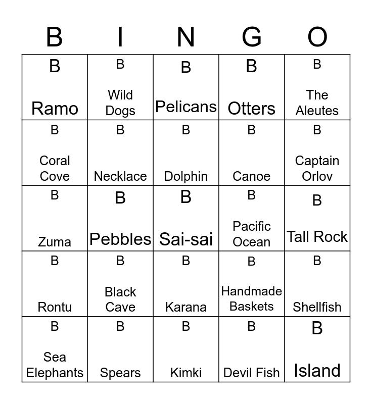 Island of the Blue Dolphins Bingo Card