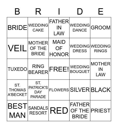 HEATHER'S BRIDAL SHOWER Bingo Card