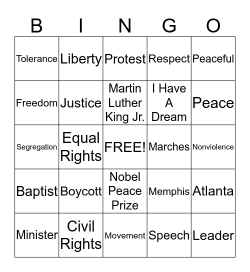 Martin Luther King Jr. Bingo Card