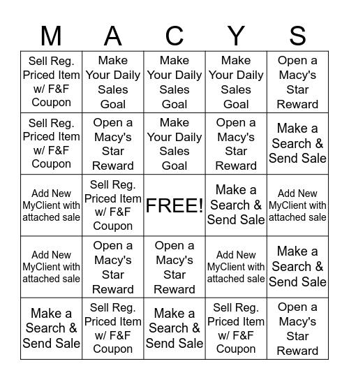 Macy's Sales Associate Bingo Card