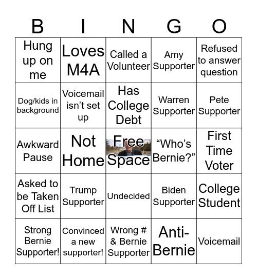 Bernie Phonebank Bingo Card