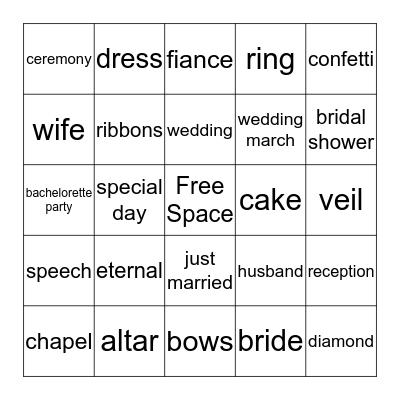 Kisha's Bridal Bingo Card