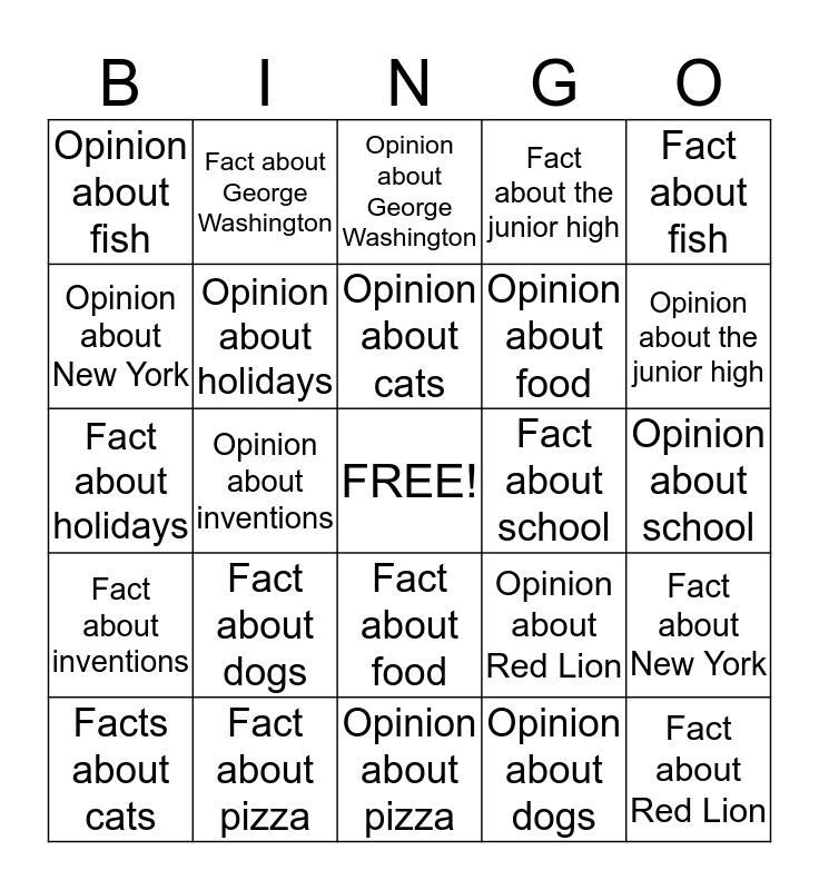 Fact vs. Opinion Bingo Card
