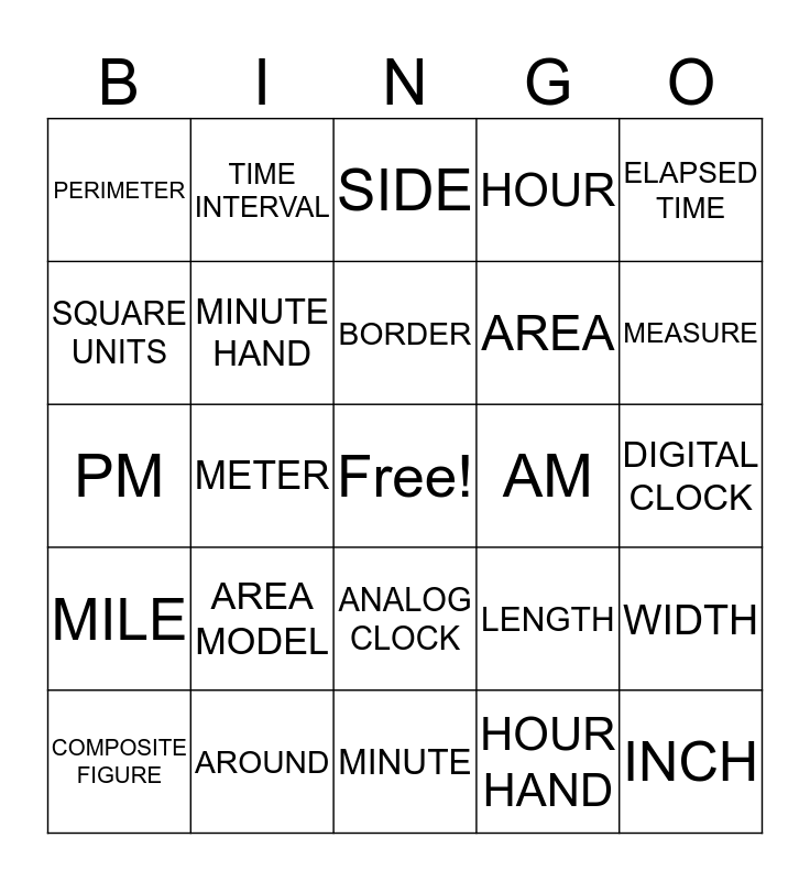 Perimeter, Area, and Time Vocabulary Bingo Card