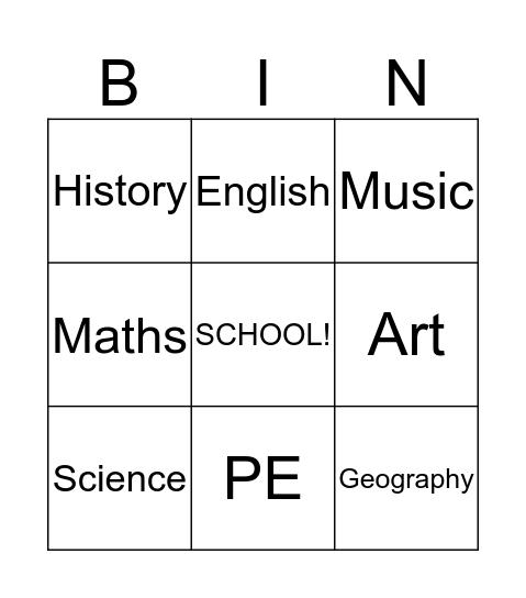 School Timetable Bingo Card