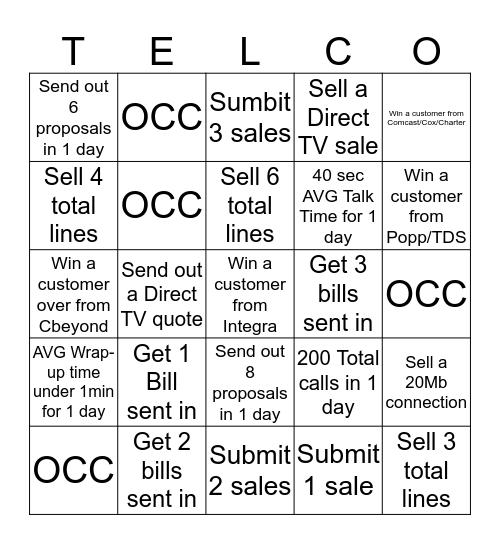 Telco BINGO- Weekly Game Card Bingo Card