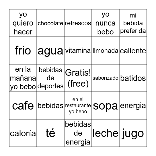 Bebidas Bingo Card