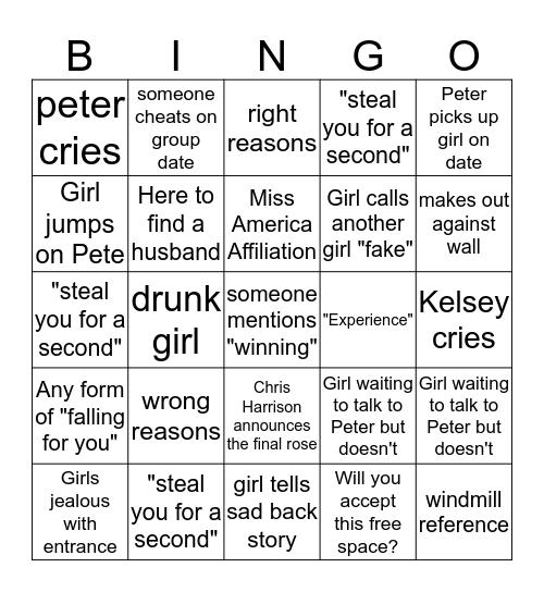 ~The Bachelor~ Pilot Pete Bingo  Bingo Card