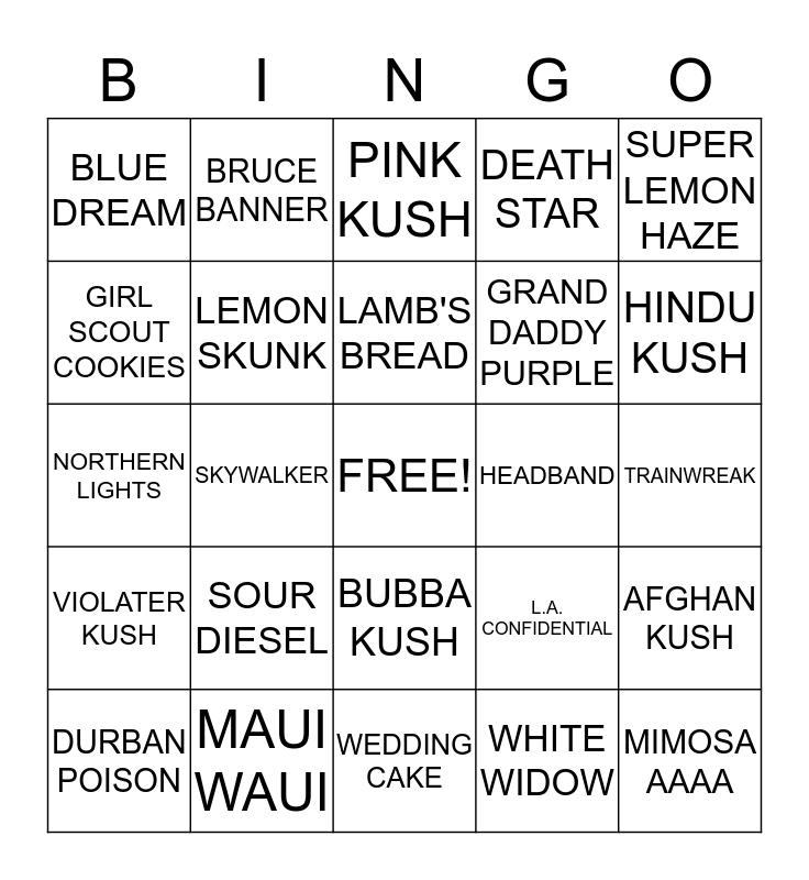 HEMP DARLINGS FLOWER BINGO  Bingo Card