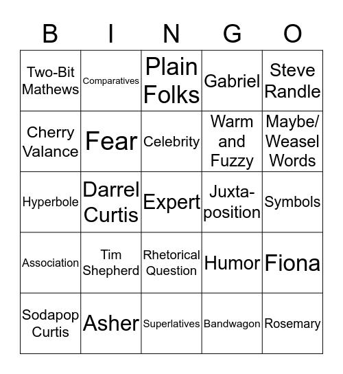 Language Arts 8 Review Bingo Card