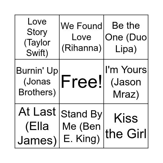 Valentines Musical Bingo Card
