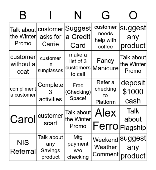 Monroe Branch Bingo Card