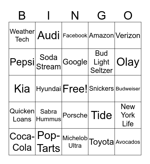 Super Bowl 54 Bingo Card