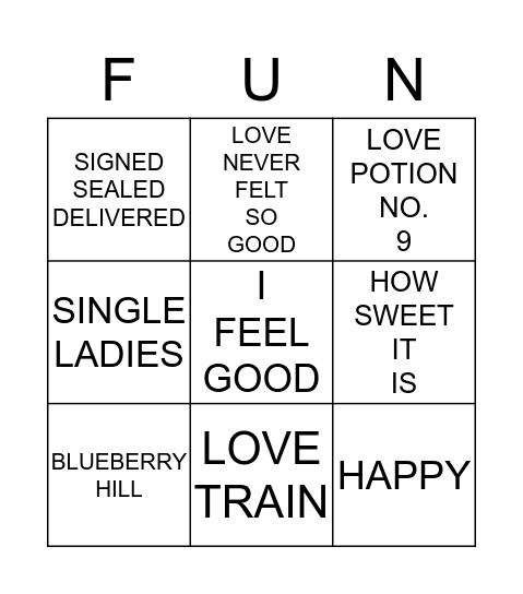 4 corners love Bingo Card