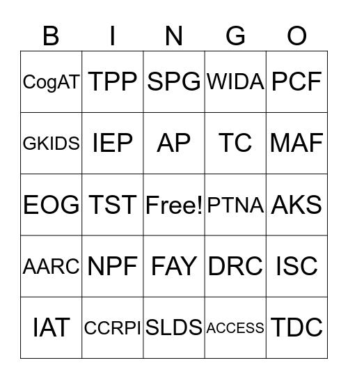 Frequently Used Acronyms Bingo Card