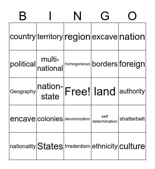 Political Geography Bingo Card