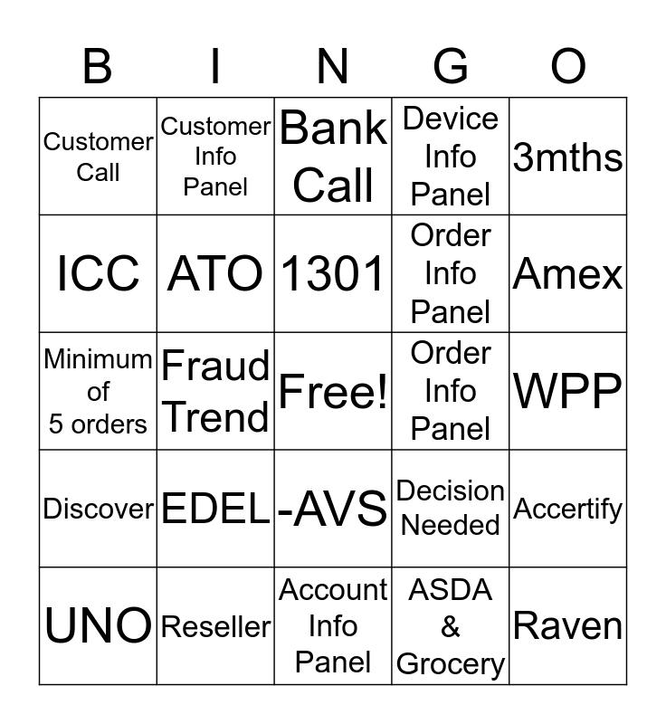 FRAUD  Bingo Card