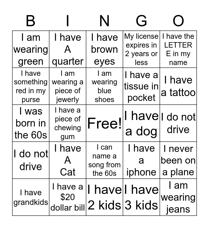 Endre's 60th Birthday  Bingo Card