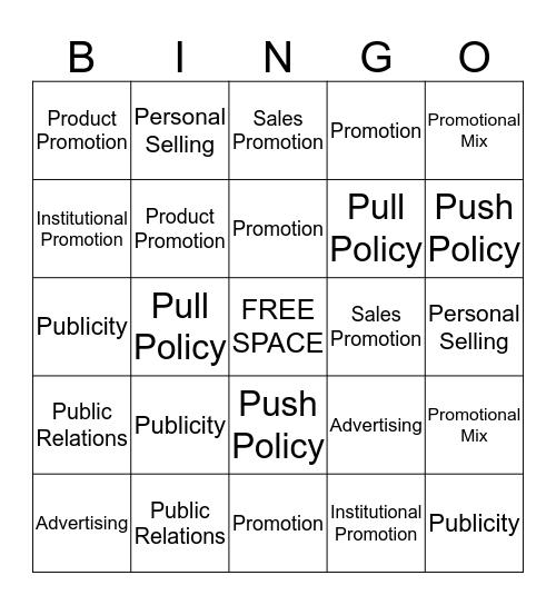 Promotion Bingo Card