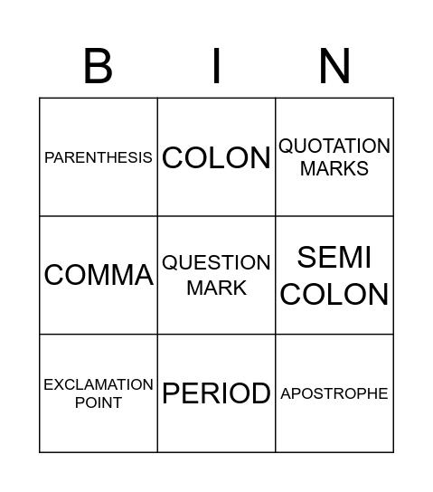 Punctuation Bingo Card