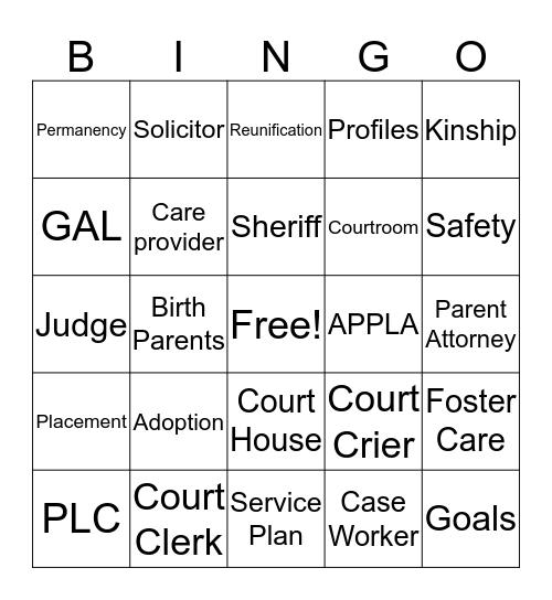 Courtroom  Bingo Card