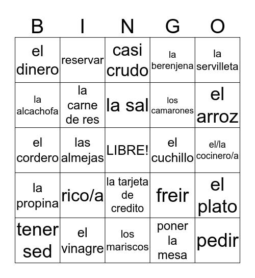 Buen Viaje 2, En el restaurante, Capitulo 2 Bingo Card