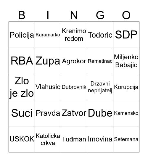 ĆINGO Bingo Card