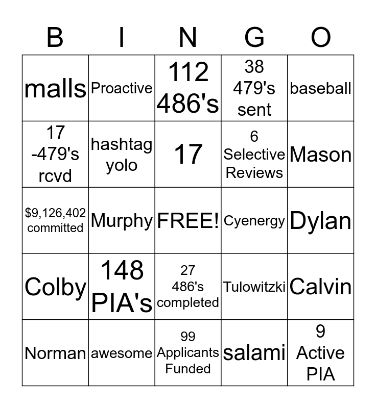 Activation Bingo Card