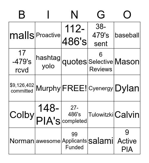 Activation Bingo Card