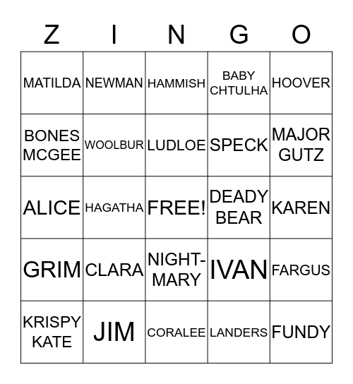 zombie pet zingo Bingo Card