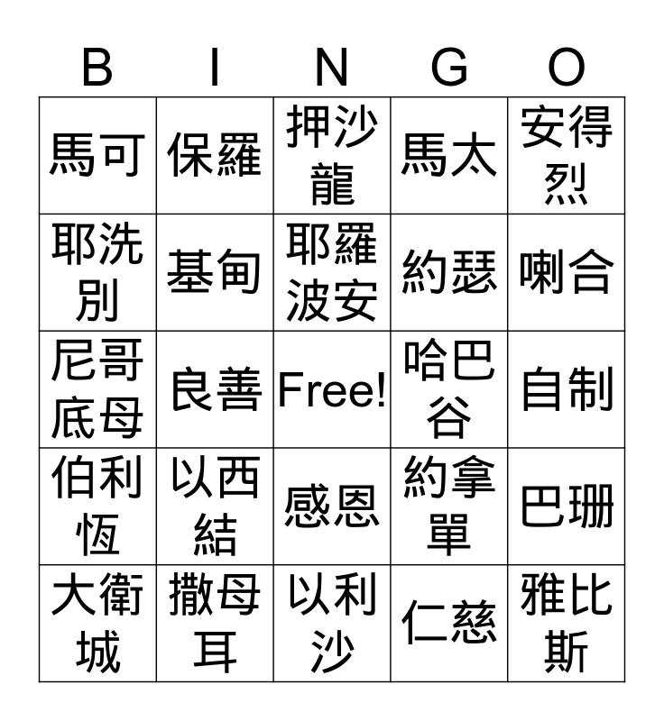 聖經 IQ Bingo Card