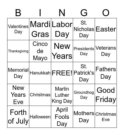 American Holidays Bingo Card
