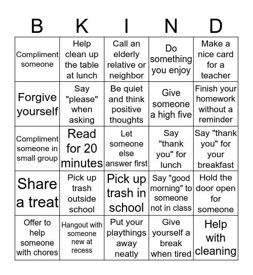 Kindness Bingo! Bingo Card