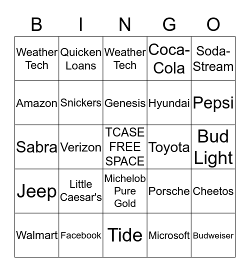 TCASE Super Bowl Bingo Card