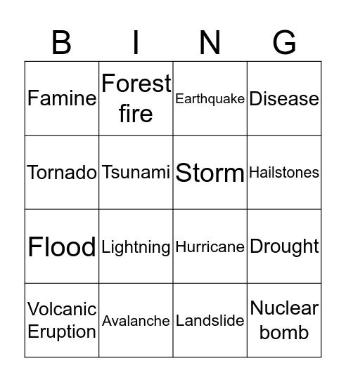 Natural Disasters Bingo Card