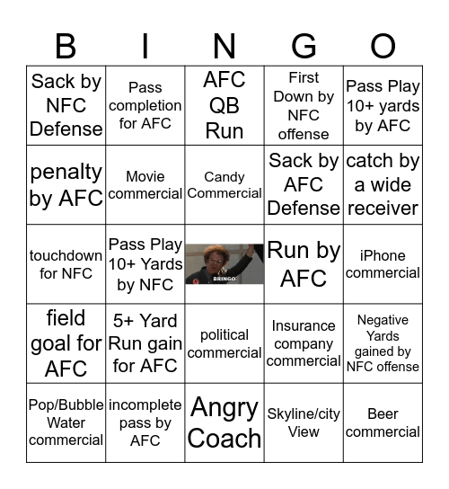 SUPER BOWL BRINGO Bingo Card