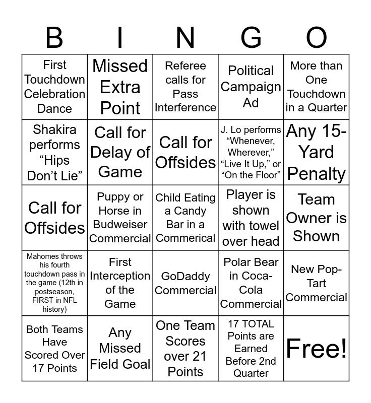 SUPERBOWL LIV Bingo Card