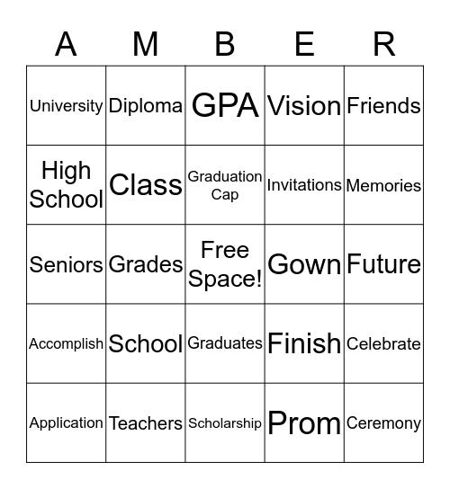 Princess Grad 2014 Bingo Card