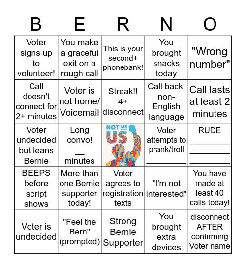 Phonebank For Bernie Bingo Card