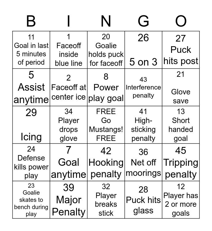 Mustangs Hockey Bingo Card