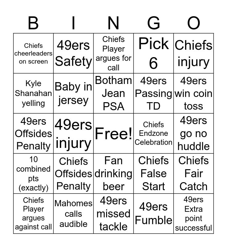 Super Bowl BINGO! Bingo Card