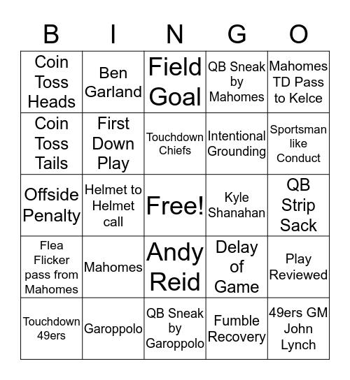 Super Bowl Sunday Bingo  Bingo Card