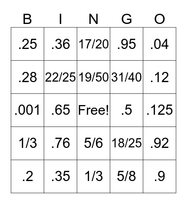 Decimal to Fraction Bingo Card