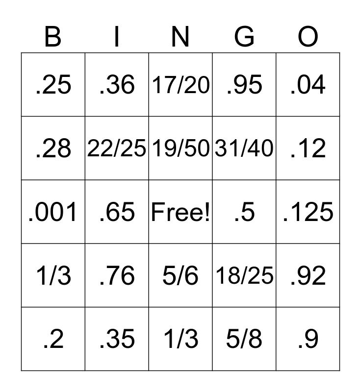 Decimal to Fraction Bingo Card