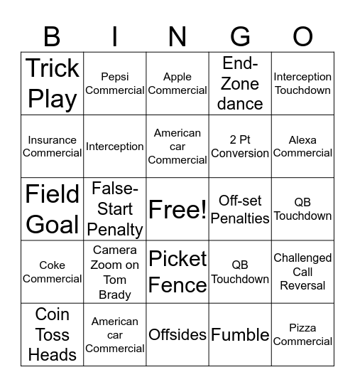 Superbowl LIV  BINGO CHALLENGE!!! Bingo Card