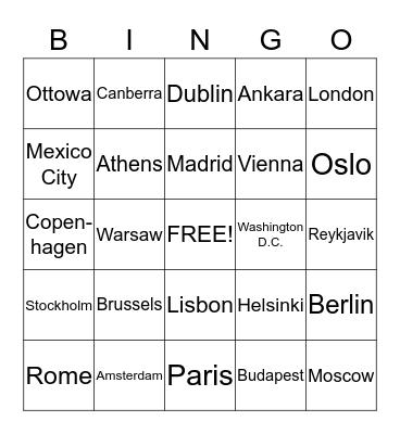 Capital Cities Bingo Card